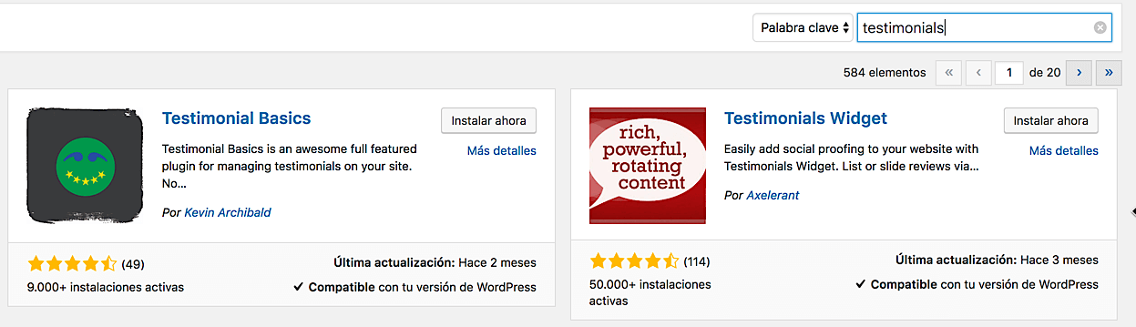 Plugins de Testimonios en el Repositorio de WordPress